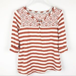 Anthro Postmark Tab Striped Henley Orange M